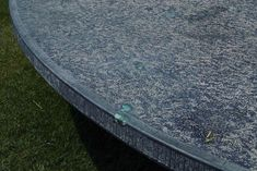 Argos table with inlaid green calcite crystals. Calcite Crystal, Argos, Stepping Stones, Tables, Stainless Steel, Crystals, Architecture, Outdoor Decor, Green