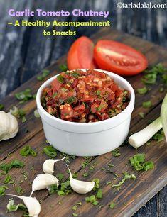 Tomato Garlic Chutney, Garlic Tomato Chutney, Helathy Indian Chutney Recipes, Indian Food Recipes, Vegetarian Recipes, Cooking Recipes, Ethnic Recipes, Indian Foods, African Recipes, Curry Recipes, Garlic Chutney