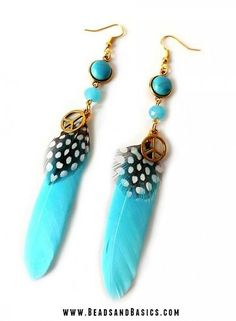 Boho Blue Feathers Earrings with peace charm - DIY + Materials to make your own at  www.beadsandbasics.com
