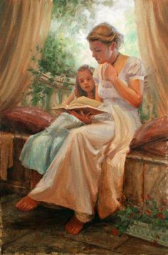 Peach and Green in Art / Terrace Morning, by Trent Gudmundsen, (American, Reading Art, Woman Reading, Kids Reading, Art Occidental, Foto Art, Mothers Love, Mother And Child, Beautiful Paintings, Oeuvre D'art