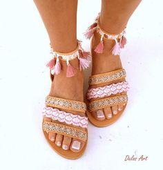 Lederen Boho sandalen CYMONE roze zomer