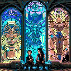 Stained glass pixel art windows - not sure we'd need as detailed a set of images as the ones we're looking to have for the magic castle level League Of Legends, Pixel Art Background, 8 Bit Art, Pixel Image, Pixel Art Games, Pixel Design, Pretty Drawings, Pixel Pattern, Pokemon