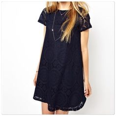 HPCute crochet dress to impress. Beautiful lace dress nice to be worn any occasion. The design is actually in black and inside lining is in dark blue and silky.                                                                                                                                       ✅Price is firm unless bundle Dresses Mini