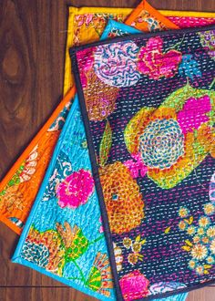 Wonderland Kantha Placemat Set of Two by SoulMakes Sashiko Embroidery, Japanese Embroidery, Embroidery Stitches, Hand Embroidery, Fabric Art, Fabric Crafts, Sewing Crafts, Sewing Projects, Boro Stitching