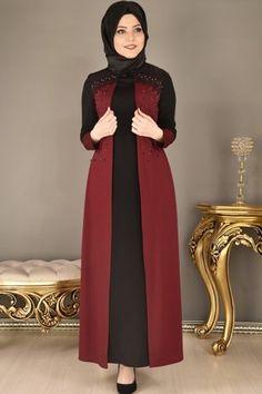 modamerve - Omuz Dantelli ve İncili Elbise Bordo/Siyah KAG 2637 Iranian Women Fashion, Muslim Fashion, Hijab Fashion, Fashion Dresses, Cheap Formal Dresses, Stylish Dresses, Casual Dresses, Muslim Dress, Hijab Dress