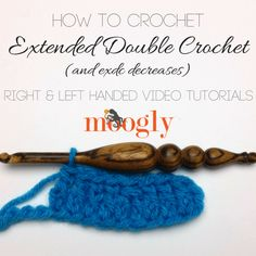 Learn how to crochet the extended double crochet stitch with a Moogly video tutorial! #crafts #crochet #diy #tutorial #video