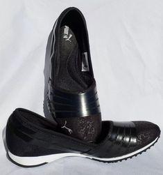3698d8216663 PUMA Womens Sz 11 Slip On Sneakers Black Ballet Flats Tennis Shoes 360184   PUMA