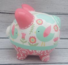 Artisan hand painted ceramic personalized piggy bank coral