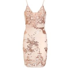 Nude And Rose Gold Sequin Bodycon Dress (£35) ❤ liked on Polyvore featuring dresses, body con dress, pink cocktail dress, bodycon cocktail dress, sequin bodycon dress and sequin dresses