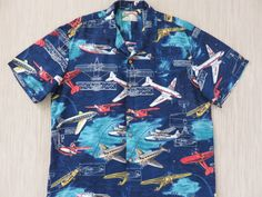 Hawaiian Shirt Men PARADISE FOUND Airplane Tourist Planes Pacific Air Lines Puddle Jumpers Sea Plane Aloha Shirt -XL- Oahu Lew's Shirt Shack by OahuLewsShirtShack on Etsy