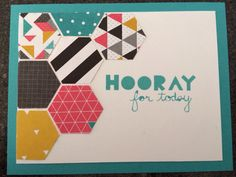 Stampin up! Geometrical stamp set, hexagon punch and kaleidoscope DSP