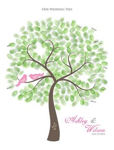 Thumbprint Wedding Tree Guest Book Alternative by TJLovePrints, $47.00