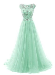 Prom Dresses Long Beads Prom Dress Tulle Cap Sleeves Evening Dress Mint Formal Gowns For Teens