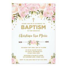 Shop Blush Pink & Gold Floral Baptism Invitation created by BlueBunnyStudio. Baptism Invitations Girl, Gold Invitations, Invitation Cards, Invites, Invitation Background, Digital Invitations, Invitation Templates, Baby Girl Baptism, Baptism Party