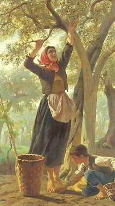 Luigi Bechi, The Harvest of Olives Luigi, Paintings I Love, Beautiful Paintings, Olive Harvest, Illustration Art, Illustrations, Country Art, Olive Tree, Italian Artist