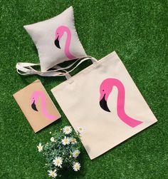 Excited to share the latest addition to my #etsy shop: Flamingo Tote Bag Pink Flamingo Tote Tropical Flamingo with Black Beak Shopping Bag Handmade in England Cream Cotton Canvas