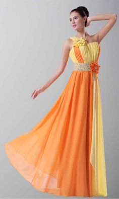 Bright Contrast Color Sequin Flowing Prom Dresses KSP217