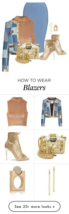 """Blazer"" by ayupsakti on Polyvore featuring Glamorous, Moschino, Gianvito Rossi, Bloomingdale's, Chloé and blazer"