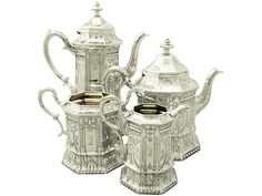 An exceptional, fine and impressive antique Victorian English sterling silver four piece tea and coffee service / set made by Joseph Angell II. SKU: A2351 Price: GBP £4,950.00 #fine #impressive #fourpiece #tea #coffee #service #silver
