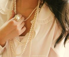 Pearls make a girls heart stronger! My double strand long pearls are my favorite!