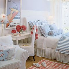 blue and white stripe beach house bedroom