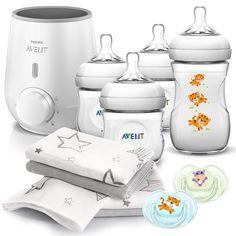 Philips Avent Premium Starter Set Naturnah 11-tlg. - Babykostwärmer + 4x Babyflasche + 2x Schnuller + 4x Spucktücher