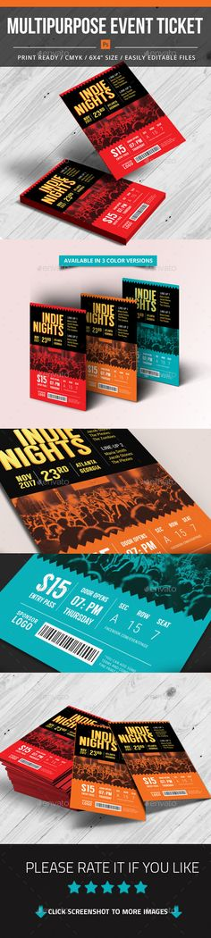 ◟ [Get Free]◬ Multipurpose Event Ticket Celebration Classic Commercial Company Concert Corporate Event Flyer Templates, Psd Templates, Event Ticket Printing, Party Tickets, Event Flyers, Music Party, Information Graphics, Print Design, Graphic Design