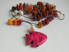 Hot pink Fish Rosary metalfree cotton necklace with by anacdesigns, £15.50