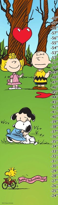 Peanuts Valentine - Charlie Brown and Snoopy height chart