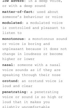 Words to describe someone's voice 4