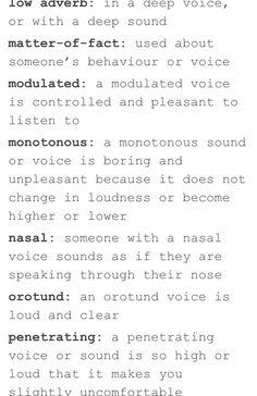 Words for describing voice
