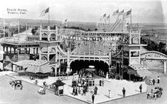 The Race Thru The Clouds opened on July 4, 1911 and was the first racing roller coaster on the West Coast. Its Venice precursor, The Merry Window Waltz, had moveable seats that gave the rider a waltzing effect. This coaster, however, was much faster and included many steep dips. | Photo courtesy of Los Angeles Public Library
