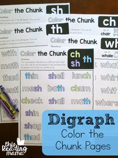 Have you seen our Color the Chunk Phonics Pages? They're great for helping learners find and use word chunks to read words. Today, I'm sharing our Color the Chunk Digraph Pages. What is a Digraph? Reading Games, Reading Centers, Reading Lessons, Reading Strategies, Reading Activities, Guided Reading, Teaching Reading, Reading Comprehension, Teaching Ideas