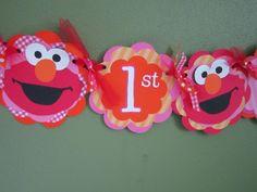Elmo girl red pink and orange birthday banner by marilyncturner, $24.00