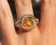Fire Opal ring / heady wire wrapped ring / wrap by TendaiDesigns, $135.00