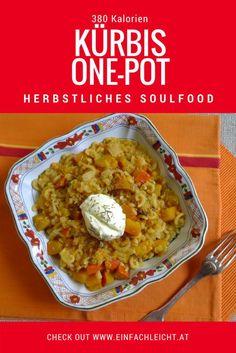 Herbstliches Soulfood: One-Pot mit Kürbis, Nudeln und roten Linsen. Kalorienarm und schnell fertig!
