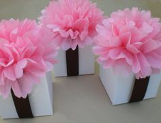 Favor Box Toppers -- Light Pink Tissue Paper Flowers such a cute idea for bridesmaid gifts