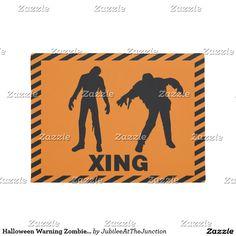 Halloween Warning Zombie Crossing Doormat