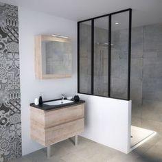 Meuble salle de bain petite taille pratique petits espaces verrière salle de bain rétro loft, salle de bain chêne vert