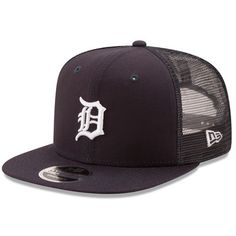 Detroit Tigers New Era Trucker Patched 9FIFTY Snapback Adjustable Hat - Navy