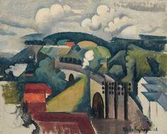 Roger de La Fresnaye (1885-1925)   Paysage de Meulan ou Le Viaduc de Meulan, première version   20th Century, Drawings & Watercolors, Painted in 1912   Christie's