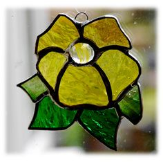 Primrose Suncatcher Stained Glass Yellow flower £8.00