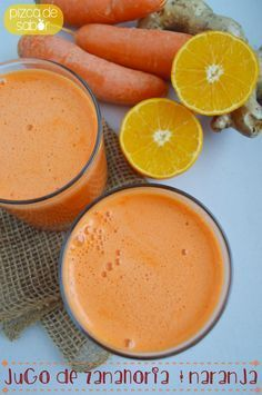 Jugo de zanahoria, naranja y jengibre   http://www.pizcadesabor.com/2014/05/02/jugo-de-zanahoria-naranja-y-jengibre/