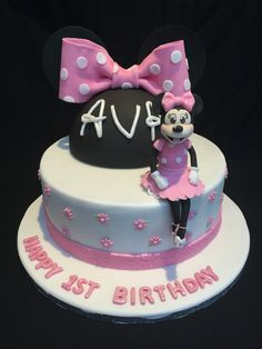 Minnie Mouse themed girly pink first birthday cake