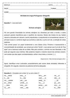 Atividade de português: Ortografia G ou J - 6º ou 7º ano
