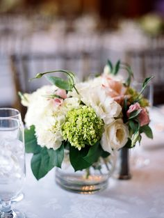 Classic Pink and green centerpiece