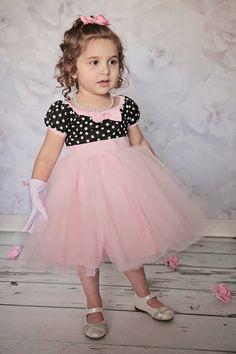TUTU Dress black polka dot with PINK skirt by loverdoversclothing