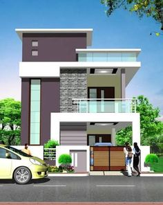 Resultado de imagem para elevations of independent houses Bungalow House Design, House Front Design, Small House Design, Modern House Design, Building Elevation, House Elevation, Building Exterior, Indian House Plans, Independent House