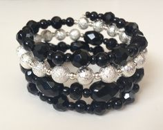 Black and Sparkly Silver Custom Coil by PeacocksandLeopards, $24.00