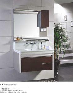 Gallery One stainless steel bathroom vanity and sink bo inch modern stainless steel bathroom cabinet Pinterest Bathroom vanities Vanities and Steel